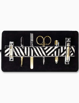 Mantidy Mantidy - Gaucho Grooming Roll with Manicure Set -  Black Leather with Chevron