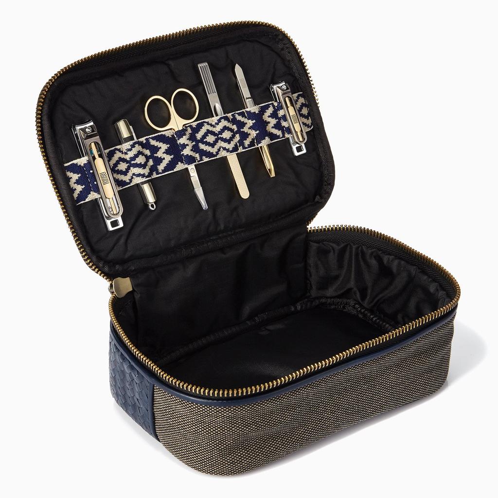 Mantidy Mantidy - Herringbone Zip Around Wash Bag with Manicure Set - Herringbone and Black Leather