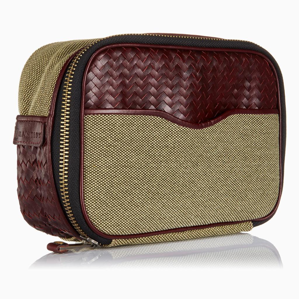 Mantidy Mantidy - Herringbone Zip Around Wash Bag with Manicure Set - Herringbone and Bordeaux Red Leather