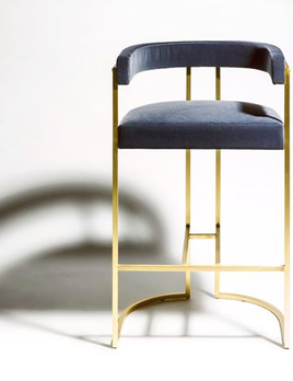Julius Barstool - Brushed Brass and Velvet - Various Velvet Colour Options and Metal Finishes Available