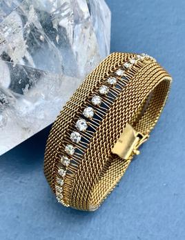 Vintage Italian 18ct Yellow Gold Mesh Bracelet with Diamonds - Approx 3.25ct - c1970