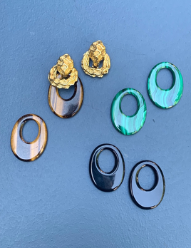 Wander France 18ct Yellow Gold Earrings with interchangeable Onyx, Tigers Eye and Malachite Hoop Drops