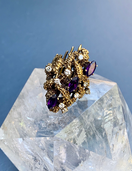 Vintage 14ct Yellow Gold Modernist/Brutalist Amethyst Ring with 9 Brilliant Diamonds .60ct - c1970