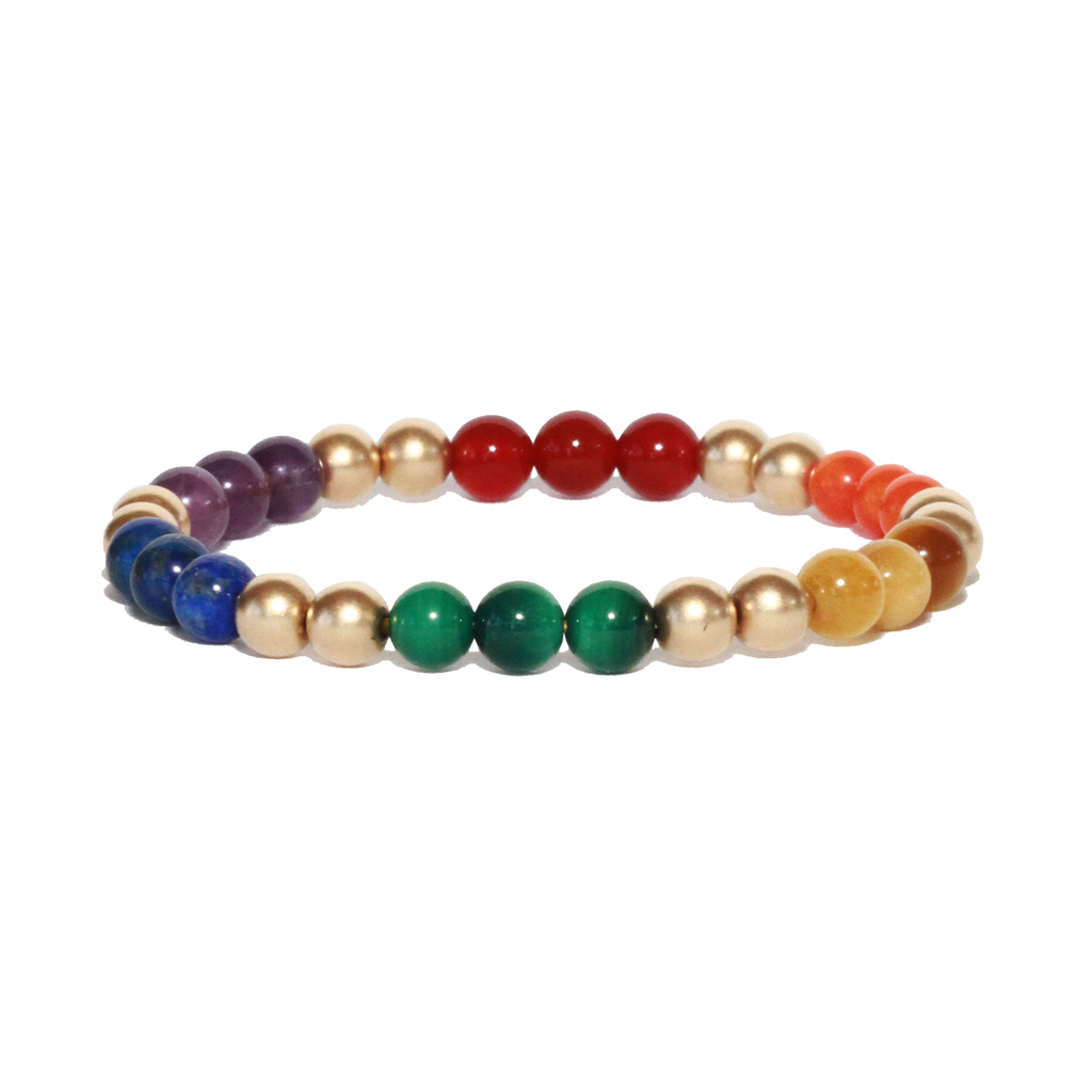 Spiritus Stones - Summer Pride Bracelet with Amethyst, Lapis Lazuli, Malachite, Tigers Eye, Coral, Carnelian & 14ct Gold