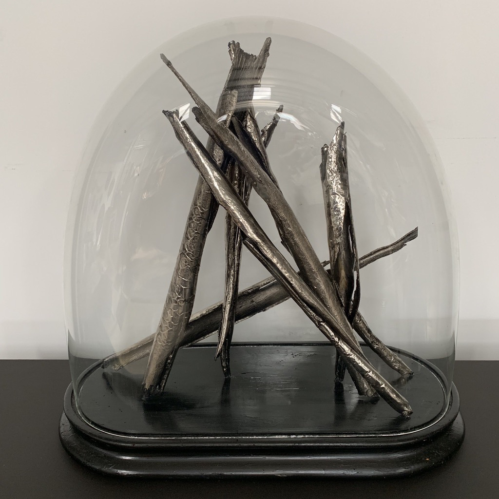 Thomas Bucich - Floating Relics IElectroplated Nickel on Bark, Antique French Cloche 48 x 50 x 22 cm
