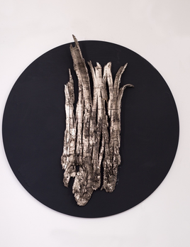Thomas Bucich - Relic - Nickel, Round Bark, nickel, paint on board, framed 90 cm