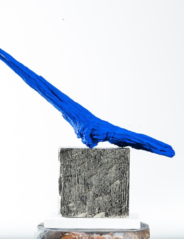 Thomas Bucich - Relic XVI - Blue / Nickel - Nickel electroplated wood, pigment, bark 55 x 55 x 14 cm