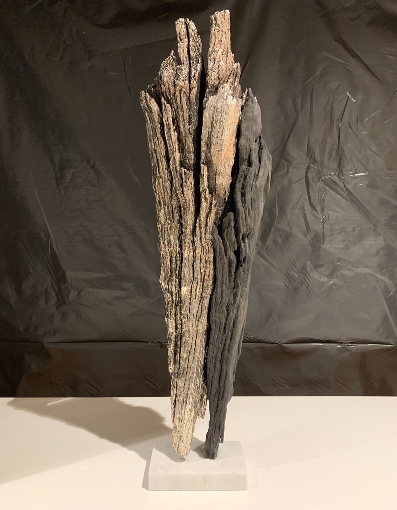 Thomas Bucich - Relic XXIII<br /> Nickel electroplated and burnt wood on marble base