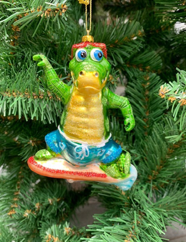 December Diamonds Surfing Alligator Christmas Decoration