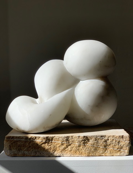 Netta (2019) - Carol Crawford Sculpture - Scaglione Alabaster on a Sandstone Base - 32cm H x 30cm W x 16cm D - Australia