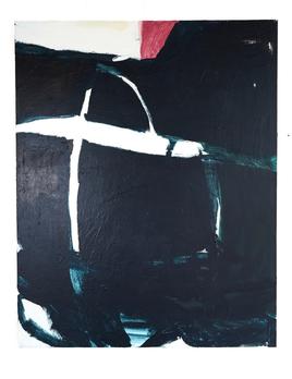Antonia Mrljak - What is truth Qual e la verita - Acrylic and Ink on Cotton Canvas125 x 155cm - Black Oak Shadow Frame