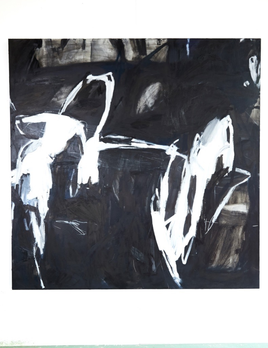 Antonia Mrljak - All your life - Oil, Acrylic, Charcoal and Ink on Cotton Canvas 160x160 cm - Black Oak Shadow Frame