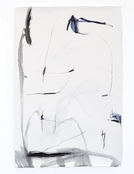Antonia Mrljak - They do sometimes ask me - Acrylic, Ink and Charcoal on Rag Paper - 99 x 140cm - Black Box Frame Non Reflective