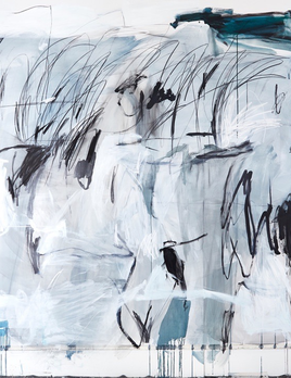 Antonia Mrljak - Full Moon II - Oil, Acrylic, Ink, Graphite and Charcoal on Cotton Canvas - 183 x 203cm - Black Shadow Frame