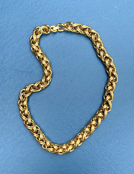 Vintage Heavy Gold Toned Woven Chain Collar Necklace - Monet USA