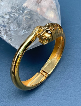 Vintage Gold Toned Panther Cuff - Diamonte Eyes