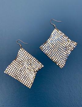 BECKER MINTY Vintage Silver Toned Mesh Earrings