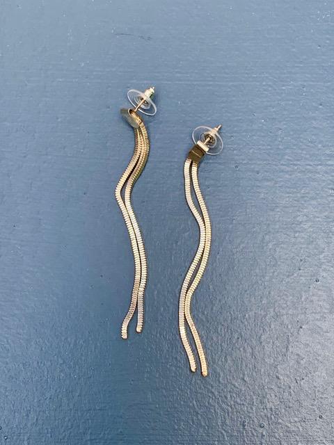 Vintage Silver Toned Double Strand Tassel Earrings