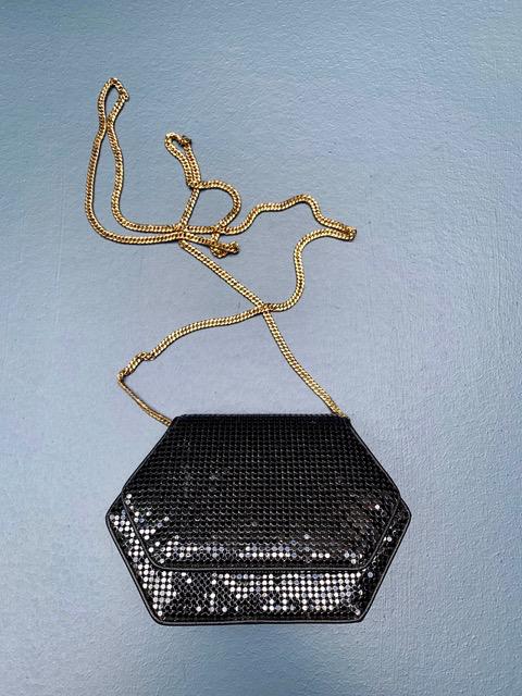 BECKER MINTY Vintage Black Structured Whiting and Davis Mesh Shoulder Bag - USA