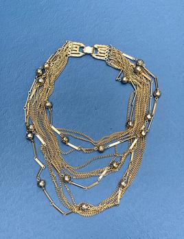 Vintage Gold Toned Multi Strand Sphere Necklace