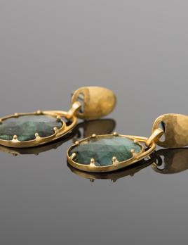 Lisa Black Jewellery - Emerald Jayne Earrings - Finely Facet Cut Raw Emerald Earrings with 22ct Gold Detailing
