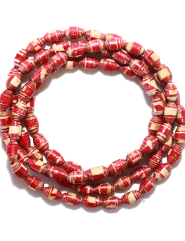 Spiritus Stones - Wrap Bracelet / Neckalce with Upcycled Natural Paper Beads - Red