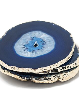 Nativa Gems Set of 4 Large Blue Agate Coasters - Electroplated Gold - Brazil