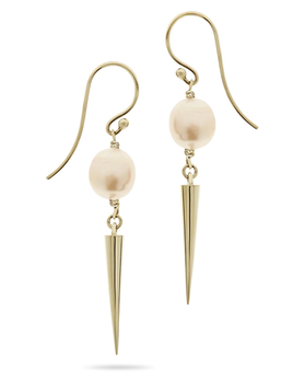 Large Spiked Pearl Hook Earrings in 9ct Yellow Gold - Luke Rose