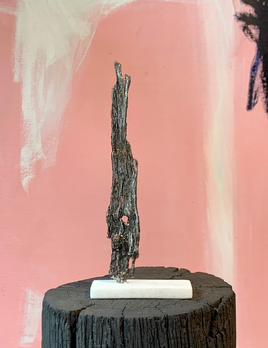 Thomas Bucich - Relic XVIII, Small 2019 - Nickel Electroplated Wood on Marble Base - 22x9x3cm