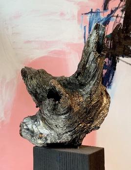 Thomas Bucich - Relic XXV<br /> Nickel Electroplated Wood, Burnt Wood Base 45 x 40 x 24 cm