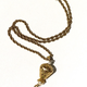 Vintage Gold Toned Monet Pendant Necklace with Faux Pearl and Tassel - USA