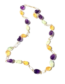 BECKER MINTY Mattia Mazza Polished Amethyst, Citrine and Prehnite Necklace - 14ct Yellow Gold - Made in Italy
