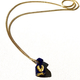 Carved and gilded lapis talisman with intaglio engravings on a gold plated chain