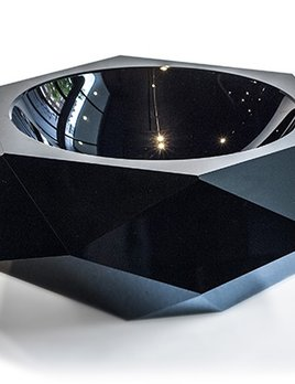 BECKER MINTY BECKER MINTY - Extra Large Faceted Bowl - Dark Topaz Crystal Glass - D33cm