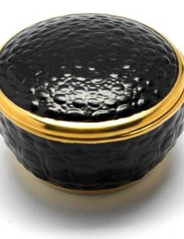 L'Objet L'Objet - Black Crocodile Round Box - Limoges Porcelain, 24K Gold Details - 8cm D