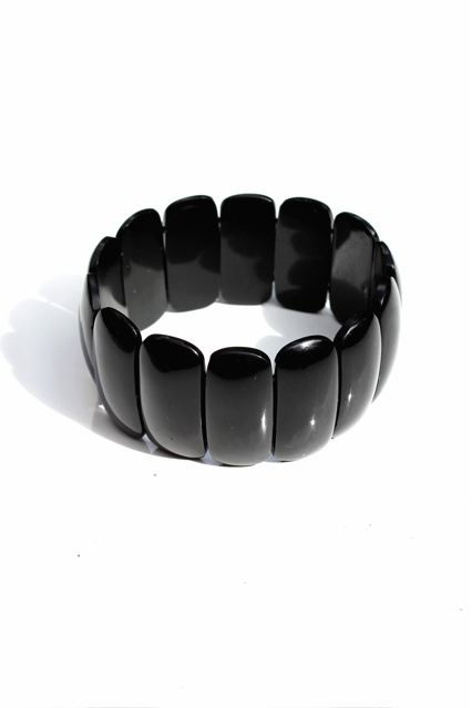 B.M.V.A. Victorian Whitby Jet Bracelet -  elasticised smooth panel bracelet of natural Whitby jet. England c.1870