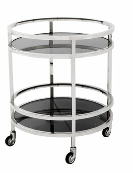 eichholtz overseas decoration b.v. Round Drinks Trolley - Polished Stainless Steel - H69xD60cm