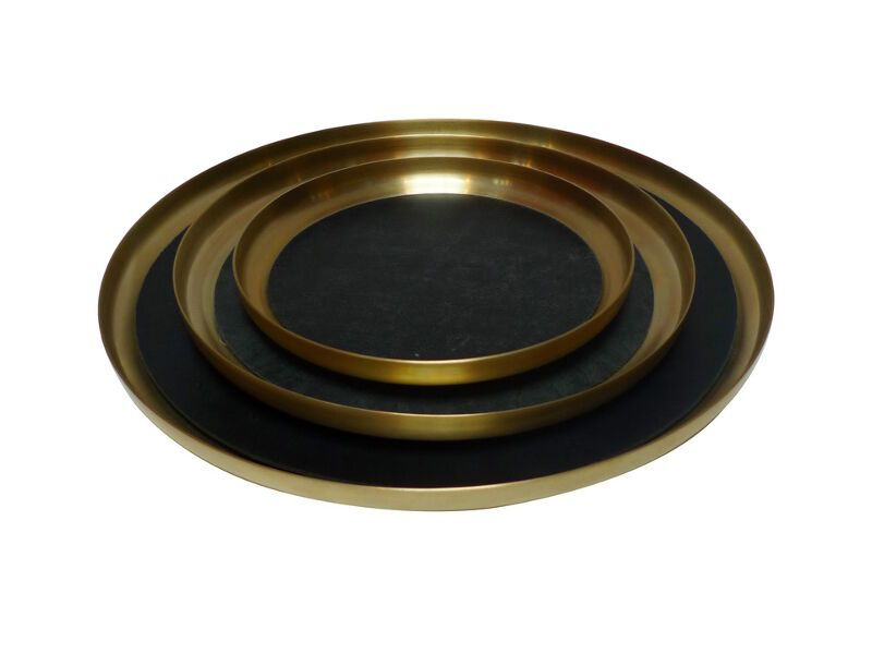 Michael Verheyden Michael Verheyden - 'Serve Brass' Small Brass Serving Tray with Leather Mat - D23cm
