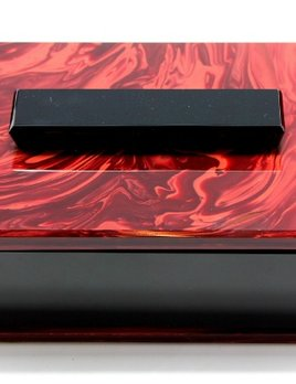 chech it out Large Art Deco Red and Black Glass Box - Czech Glass c.1930 - h6.5 x w17 x d12cm