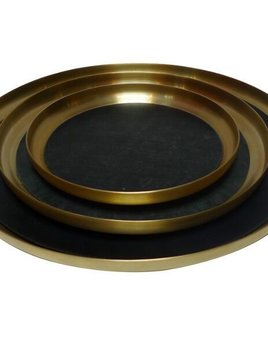 Michael Verheyden Michael Verheyden - 'Serve Brass' Medium Brass Serving Tray with Leather Mat - D30cm