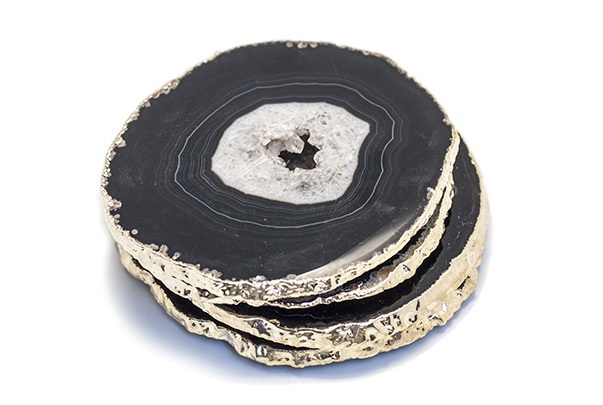Set of 4 Large Black/Brown Agate Coasters - Electroplated Gold - Brazil