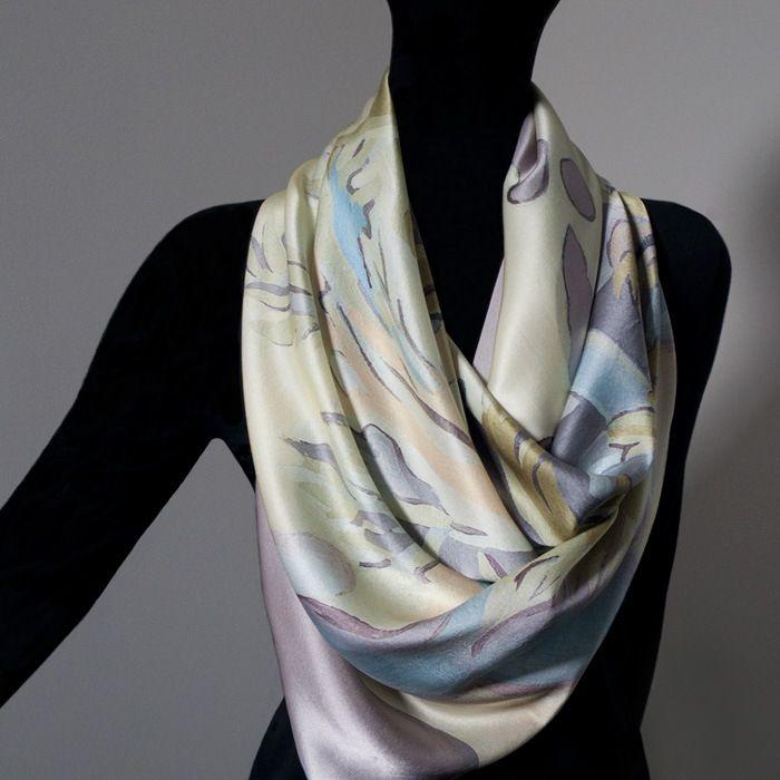 Joanne Ritson Art Scarf - Silver Terra - Pure Silk - 97x97cm