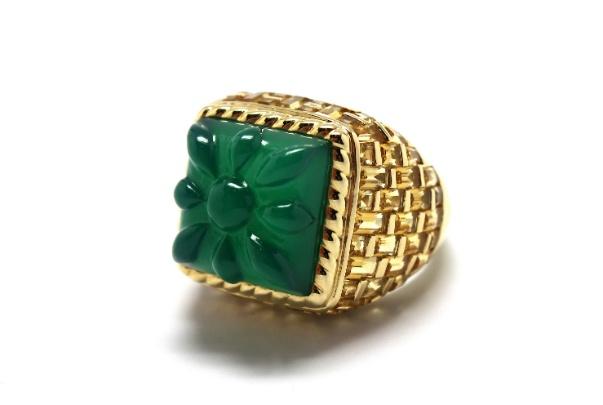 Stenmark - Mini Basket Weave Green Agate Ring - 14ct Yellow Gold.