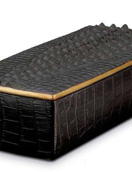 L'Objet L'Objet - Black Crocodile Rectangular Box - Porcelain with 24ct Gold Plated Detail - 23x10x7cm