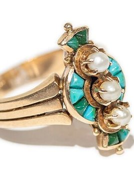 l&z estate jewellers Antique 18ct Yellow Gold, Turquoise and Freshwater Pearl Dress Ring - c1890