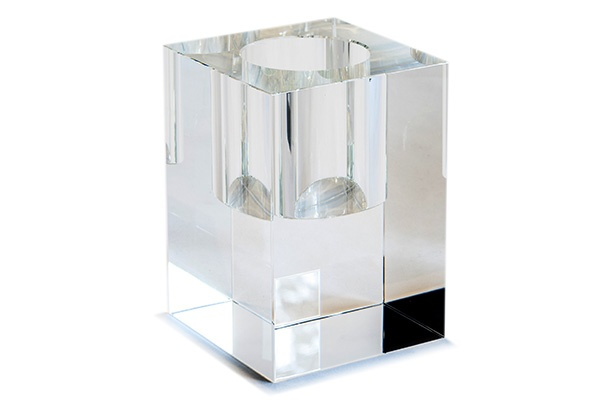 BECKER MINTY BECKER MINTY Cubik Collection - Extra Large Cuboid Vase - Clear Crystal Glass - H20x14x14cm
