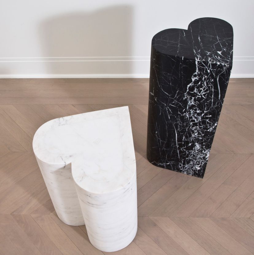 Kelly Wearstler Kelly Wearstler - Amorata Stool - Heart - Negro Marquina Marble - 40x38x45cm