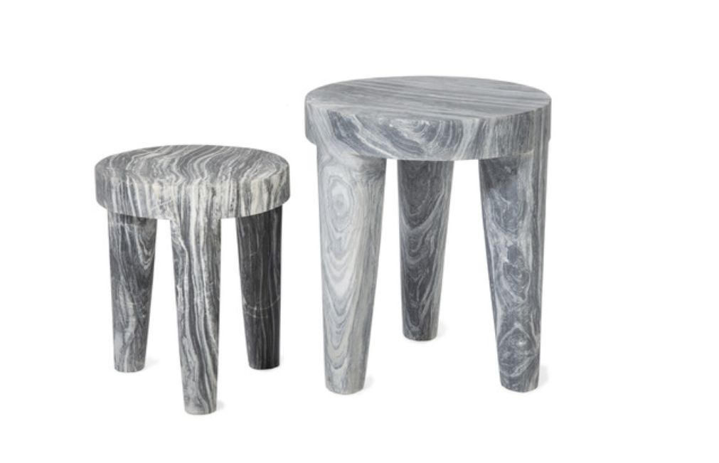 Kelly Wearstler Kelly Wearstler - Large Tribute Stool - Grey Marble - 38x46cm
