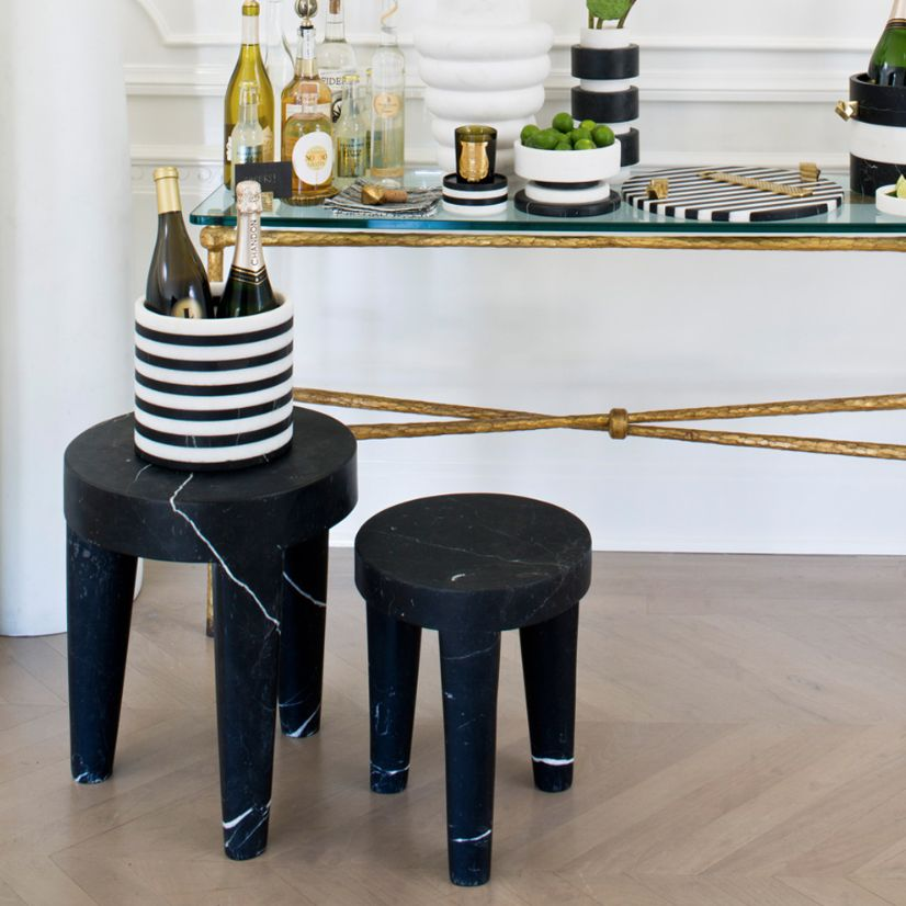 Kelly Wearstler Kelly Wearstler - Large Tribute Stool - Negro Marquina Marble  - 38x46cm