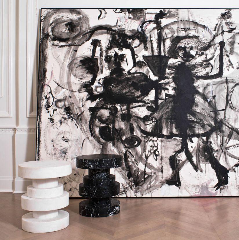 Kelly Wearstler Kelly Wearstler - Apollo Stool - White calacatta marble <br />38x45cm